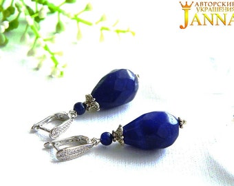 "Sapphire. Earrings ""the First drops of spring"" with sapphires carat 69.7"