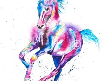 Original watercolour  horse painting  A4 or prints up to EXTRA LARGE A1