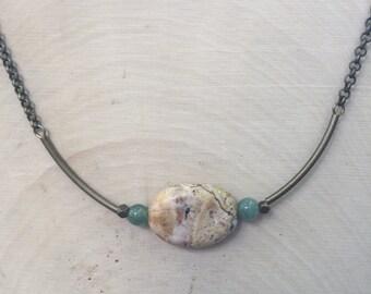 Short  Brioche Amazonite necklace