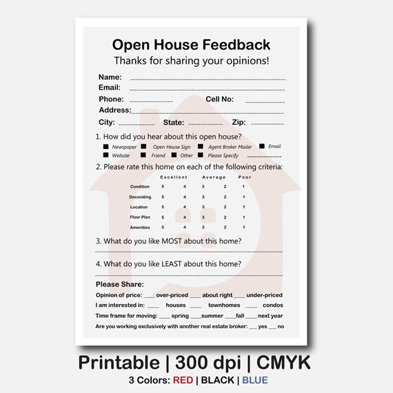real estate open house feedback form Real Estate Signs Real