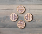 Wood coaster set, Boho decor, Christmas gift for men, Reclaimed wood coasters, Rustic decor, Wooden coasters,  Block printed by hand