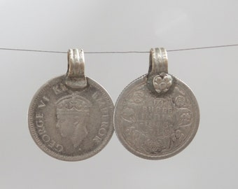 Antique 1/4 rupee  coin pendant from India. King George VI on the face of the coin. Old silver. Collectable. Handmade. NPC13