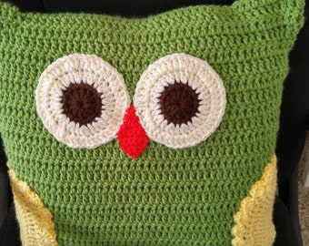 Owl Pillow/Amigurumi Pillow/Green Pillow/Pillow/Stuffed Owl Pillow/Nap Buddy/Play Buddy