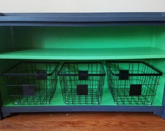 Charcoal and Green Upcycled Open Storage Bench