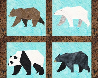 Bears - 4 Quilt Block Patterns - Foundation Paper Piece Patch - PDF Download, Panda, Grizzly, Polar