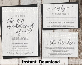 Rustic Wedding Invitation Template Printable Set - Fairy Lights, Wood Background, Calligraphy | Editable Instant Download Digital File Suite