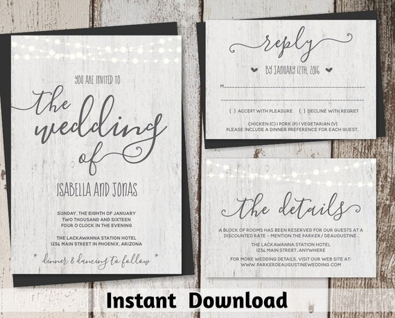 Free Rustic Wedding Invitation Templates: Rustic Wedding Invitation Template Printable Set Fairy
