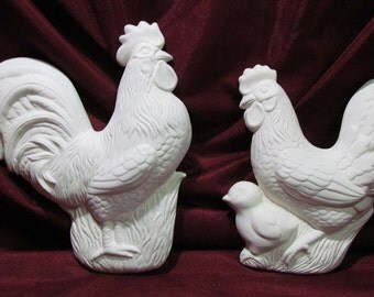 Ceramic Bisque Rooster and Hen Chicken Plaque Wall Hangings U-Paint Farm Animal Bird Unpainted DIY