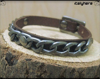man leather bracelet engraved with chain gunmetal