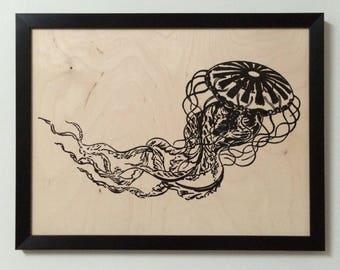 Framed Wood Black Jellyfish Print