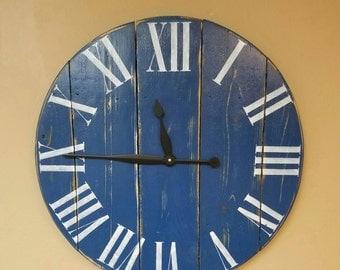 Navy Blue Wall Clock Etsy