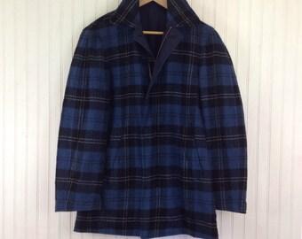 Vintage 60s Tartan Plaid Pea Coat Womens L Blue Wool Reversible Mens M