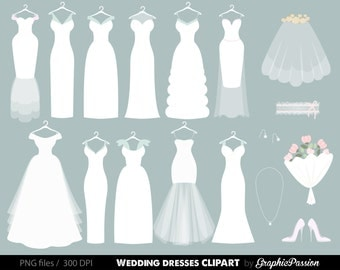Wedding Clipart, Wedding dress clipart,  Bridal Clipart, Bride clipart, Digital Bride Groom Clip Art Wedding ClipArt Digital Bride Clipart