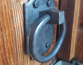 Hand forged ring door handle, knob