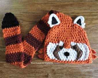 Crocheted Red Panda hat LINED white fleece and its tail serves as a scarf CUSTOM, cute Red Panda hat for child, teen, adult with scarf
