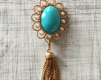 Vintage Gold and Turquoise Brooch