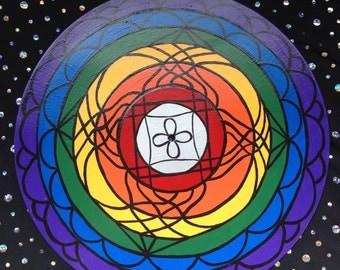 Hand Painted Vinyl Record-Mandala