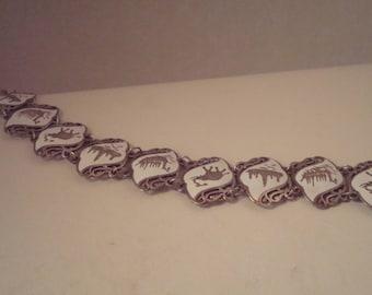 Vintage sterling enameled bracelet and pin