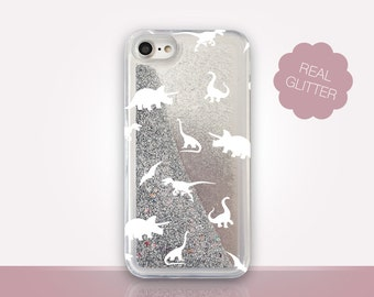 Dinosaurs Glitter Phone Case Clear Case For iPhone 8 iPhone 8 Plus - iPhone X - iPhone 7 Plus - iPhone 6 - iPhone 6S - iPhone SE  iPhone 5