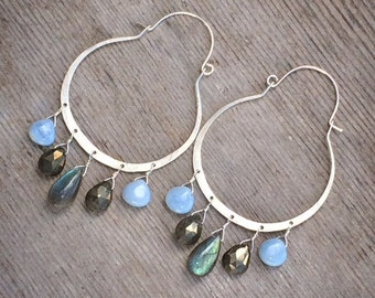 Labradorite, pyrite and owyhee opal on sterling silver earrings