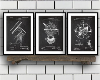 Astronomy Patent, Astronomy poster Set of THREE, astronomy Invention Patent, telescope Poster, Astronomy Print, Sun Dial Inventions, SP234
