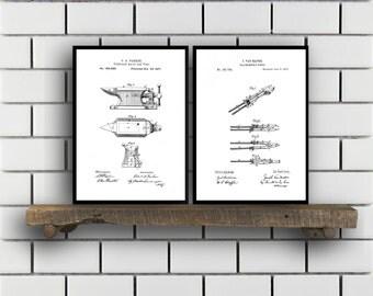 Blacksmith Patent Prints, Blacksmith Set of TWO, Blacksmith Invention Patent, Blacksmith Poster, Blacksmith Print, Blacksmith