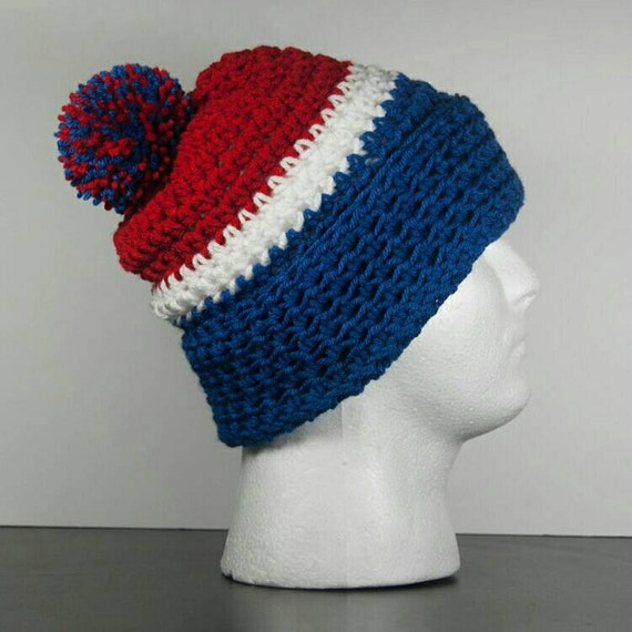 Beanie Hat With Bill Crochet Pattern : Buffalo Bills Crochet Beanie Blue Red and White Handmade