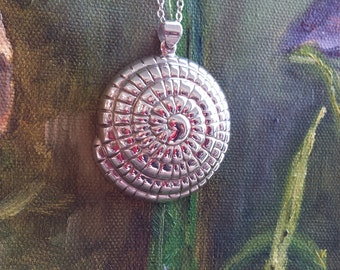 Sterling silver shell pendant with sterling silver chain