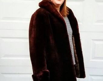 Mouton Fur Coat Vintage 50's Womens Mid-century Modern Chocolate Brown Fur Swing Rockabilly Jacket