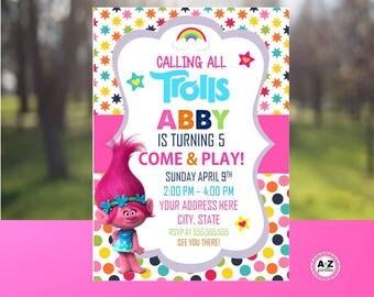 Troll Birthday Invitation, Personalized Invitation, Printable DIY, Troll party, personalized invitation, double sided, troll movie, 5x7, diy