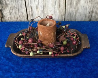 Primitive Treenware Centerpiece with Candle Ring and Flameless Candle, Americana Decor, Holiday Decor, Patriotic Decor, Free Shipping