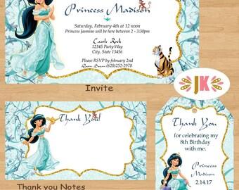 Princess Jasmine Disney Princess Inspired  Printed Birthday Invitations