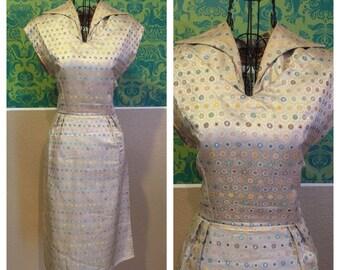 Vintage 1950s Dress - Gold Stars Teatimer Asian Dress - M