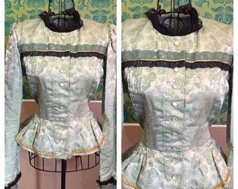 Vintage Victorian Style Bodice - 1940s Costume High Quality Theater Quality Shirt Top - M