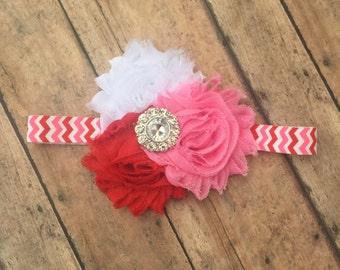 Valentines Day headband - Valentines Headband - baby girl headband - Flower headband - Valentines Day - baby headband - babys valentines day