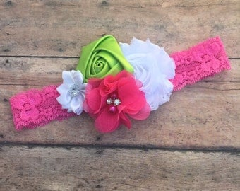 Lace Headband - flower headband - Summer headband - headband - summertime headband - Baby girl headband - pink, green and white headband