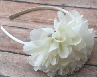 Ivory Headband - Ivory Head band - Headband - Toddler Headband - girl headband - Ivory flower - Ivory flower headband - Flower girl headband