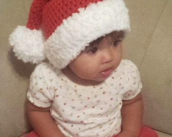 Crochet Santa Clause hat for babies and kids - Christmas beanie - red and white with pom pom - holiday