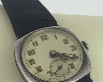 Vintage Military Cyma Swiss Mens' Watch. C 1920's. Sterling Silver Cushion Case.