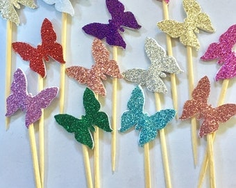 Delicate Butterfly Cupcake Cake Toppers - Wedding, Birthday, Event. Set of 10