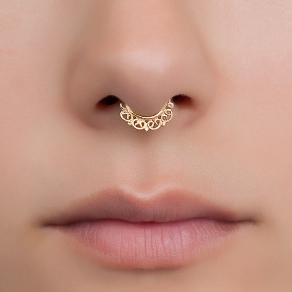 Tiny fake Brass Septum Ring. indian septum ring. septum piercing. fake septum.  Material: Brass, gold plated or sterling silver.