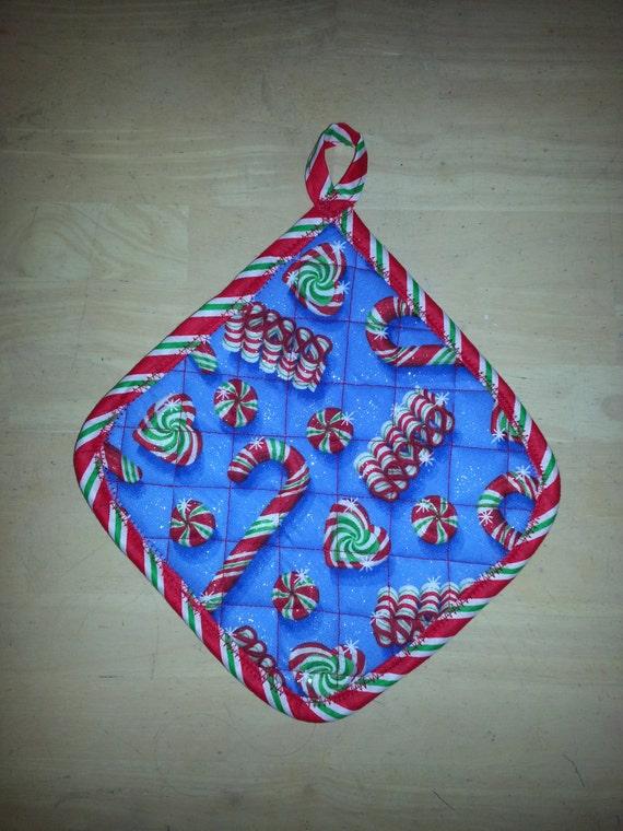 Handmade Christmas Potholders w/ Candy cane Mix Print