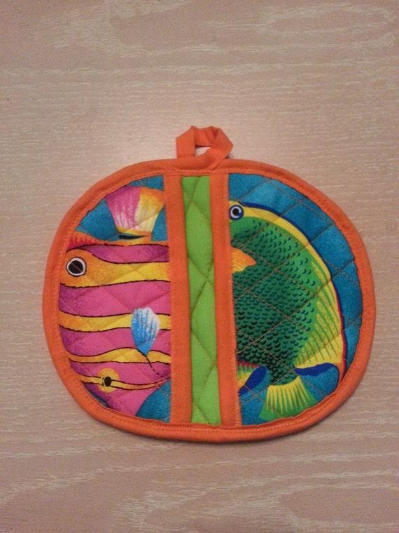 "Handmade "" Bright Tropical Fish Print ""  Potholder / Trivet"
