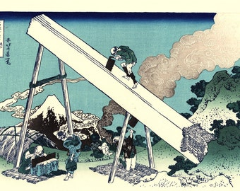 "Japanese Ukiyo-e Woodblock print, Katsushika Hokusai, ""Mount Fuji from the mountains of Tōtōmi, Thirty-six Views of Mount Fuji"""
