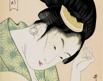"Japanese Ukiyoe, Woodblock print, antique, Utamaro,  ""Obvious Love (Arawaruru koi), from the series Anthology of Poems: The Love Section"""