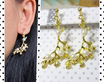 Wedding clip-on earrings, bridal clip-on earrings, branch leaf clip on earrings, 6G, Non Pierced earrings, Invisible clip on earrings