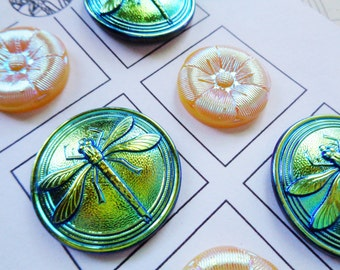 Modern Czech art glass buttons on the card, luster mix, iridescent lusters with fine detail 1 1/8 and 7/8 inch mix FREE SHIPPING