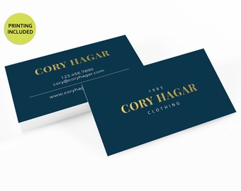 Blue & Gold Printed Business Cards - business cards,business card design,custom business card,cards,printing,hair,barber,stylist,white