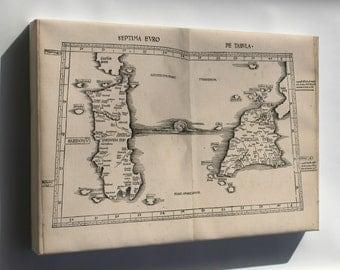 Canvas 24x36; Ptolemy Map Sicily & Sardinia Italy 2Nd Century
