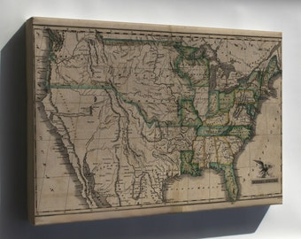 Canvas 16x24; Map Of The United States C1823